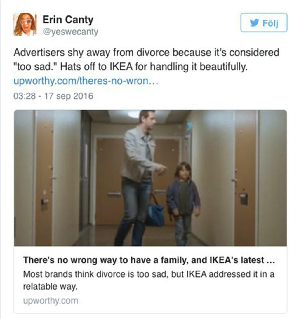 """""""Hatten av för Ikea som tar upp ämnet skilsmässa på ett fint sätt"""", skriver en användare på Twitter."""