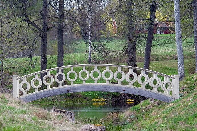 På marken finns flera hus och broar.