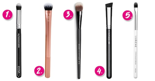1. Zoeva 142 Concealer buffer brush. 2. Real Techniques Expert concealer brush. 3. Bareminerals Shade & diffuse eye brush. 4. MAC Cosmetics 106S Triangular concealer brush. 5. Lumene 04 Concealer brush.