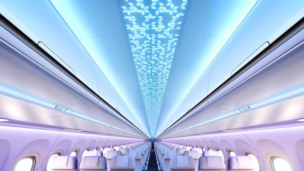 """Airbus nya flygkabin kallas """"uppkopplad upplevelse""""."""