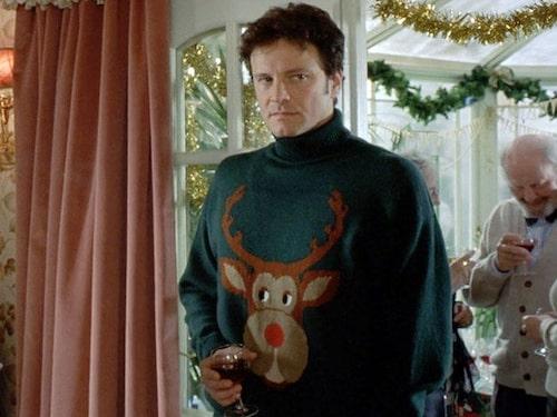 """Colin Firth som Mark Dacy i """"Bridget Jones"""" med jultröja."""