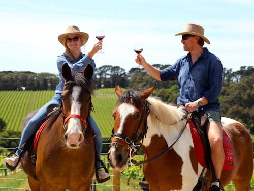 Att rida från vingård till vingård på vackra Morningtonhalvön är ett livsnjutaräventyr som heter duga.
