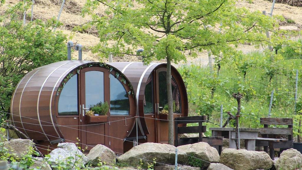 På tomten finns det totalt fem vintunnor där gästerna kan sova.