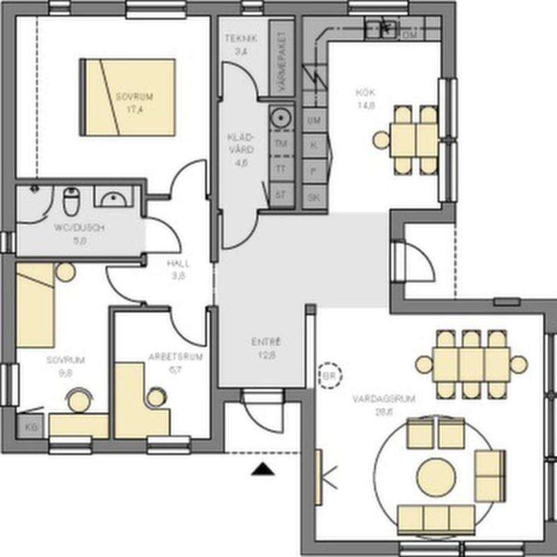 Stor sällskapsyta<br>En ganska liten villa med en stor sällskapsyta i det ljusa vardagsrummet som har stora fönster åt två håll. Köket ligger lite för sig, med matplats som räcker för en liten familj. Sovavdelningen ligger skyddad bakom en inre hall. Det stora sovrummet har plats för en lång och djup garderobsvägg. Det enda badrummet är i minsta laget och ligger för privat för att passa för gäster. Det borde finnas plats för ytterligare en toalett. Nu försvinner i stället för mycket yta i hallen mellan kök och vardagsrum.